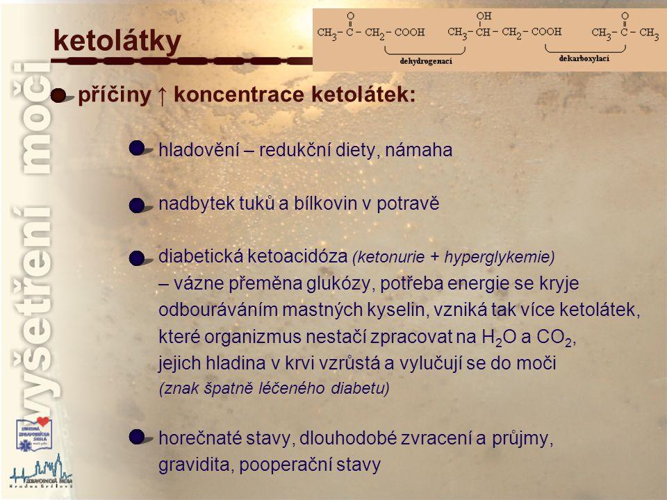 ketolátky příčiny ↑ koncentrace ketolátek: