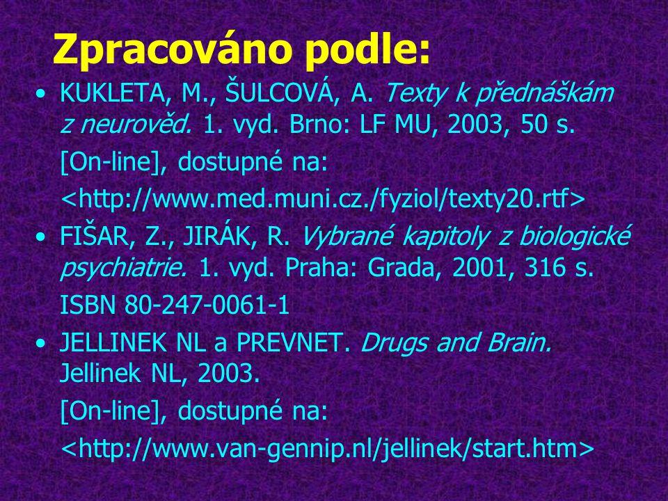 Zpracováno podle: KUKLETA, M., ŠULCOVÁ, A. Texty k přednáškám z neurověd. 1. vyd. Brno: LF MU, 2003, 50 s.