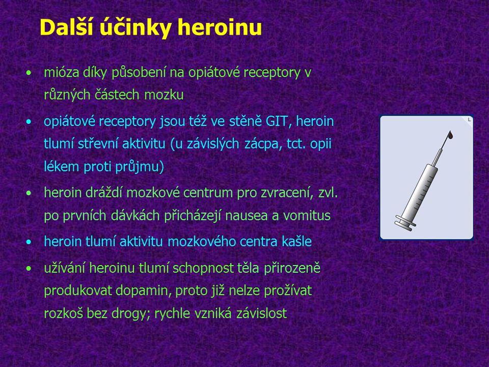 Další účinky heroinu mióza díky působení na opiátové receptory v různých částech mozku.