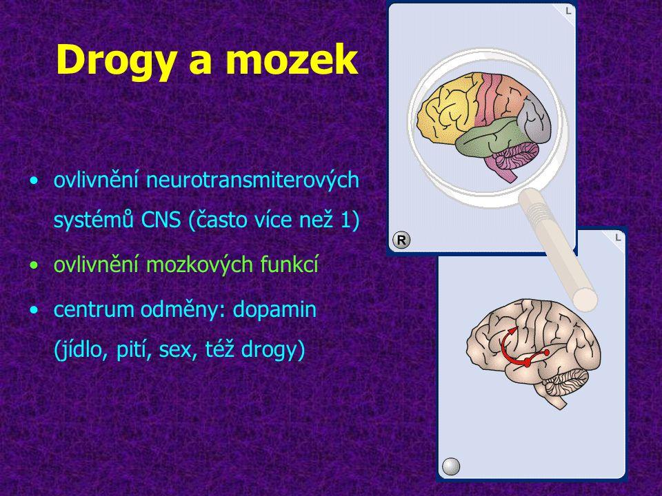 Drogy a mozek ovlivnění neurotransmiterových systémů CNS (často více než 1) ovlivnění mozkových funkcí.