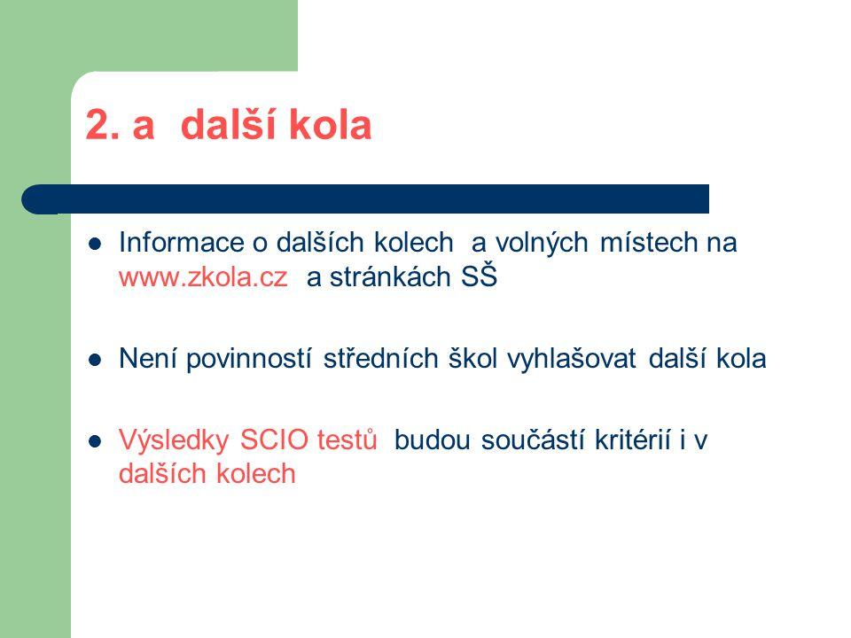 2. a další kola Informace o dalších kolech a volných místech na www.zkola.cz a stránkách SŠ. Není povinností středních škol vyhlašovat další kola.