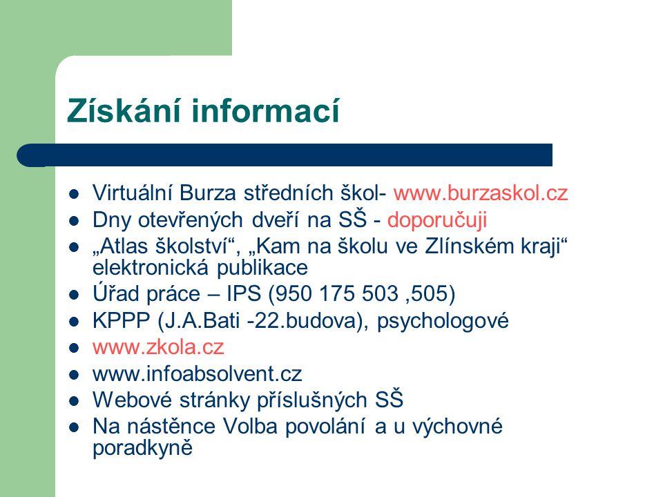 Získání informací Virtuální Burza středních škol- www.burzaskol.cz