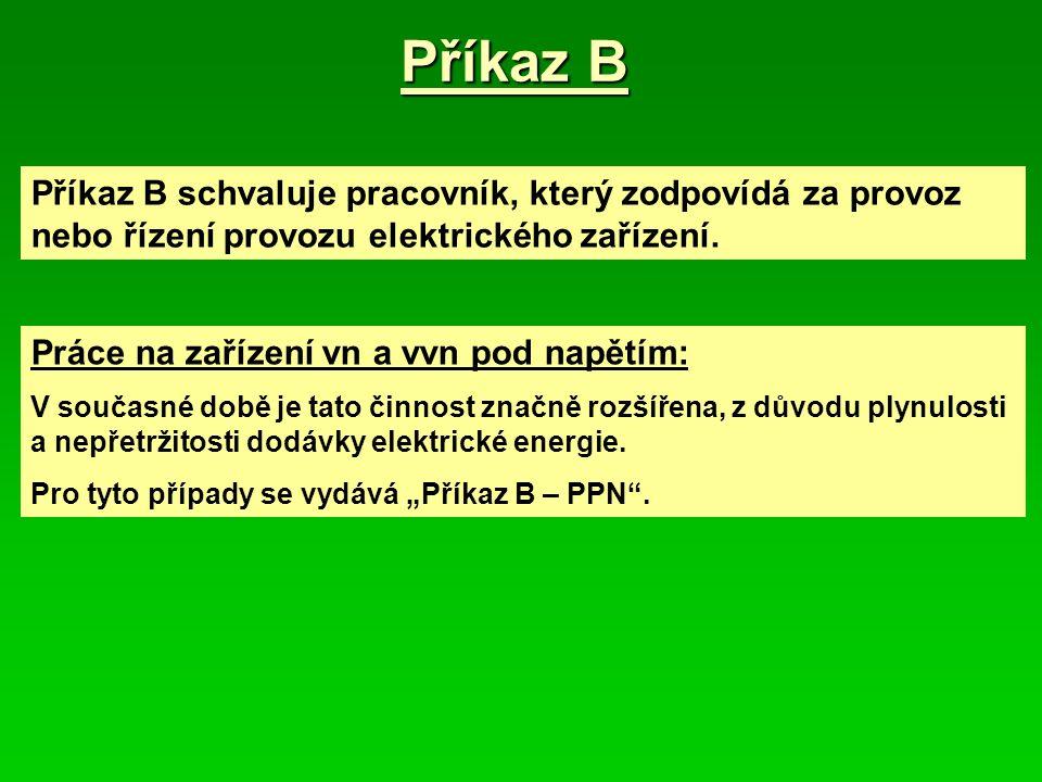 Příkaz B Příkaz B schvaluje pracovník, který zodpovídá za provoz nebo řízení provozu elektrického zařízení.