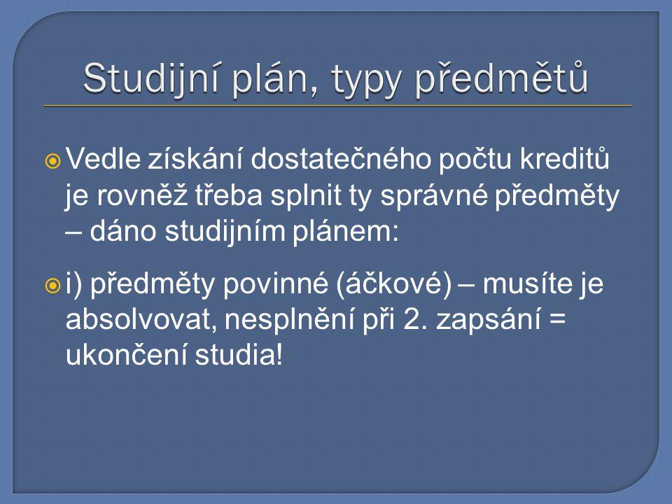 Studijní plán, typy předmětů