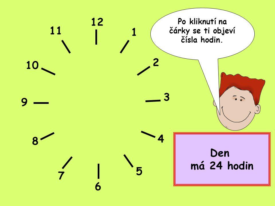 Po kliknutí na čárky se ti objeví čísla hodin.
