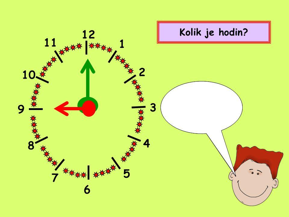 Kolik je hodin 12 1 2 4 5 8 9 10 11 7 Devět hodin 3 6