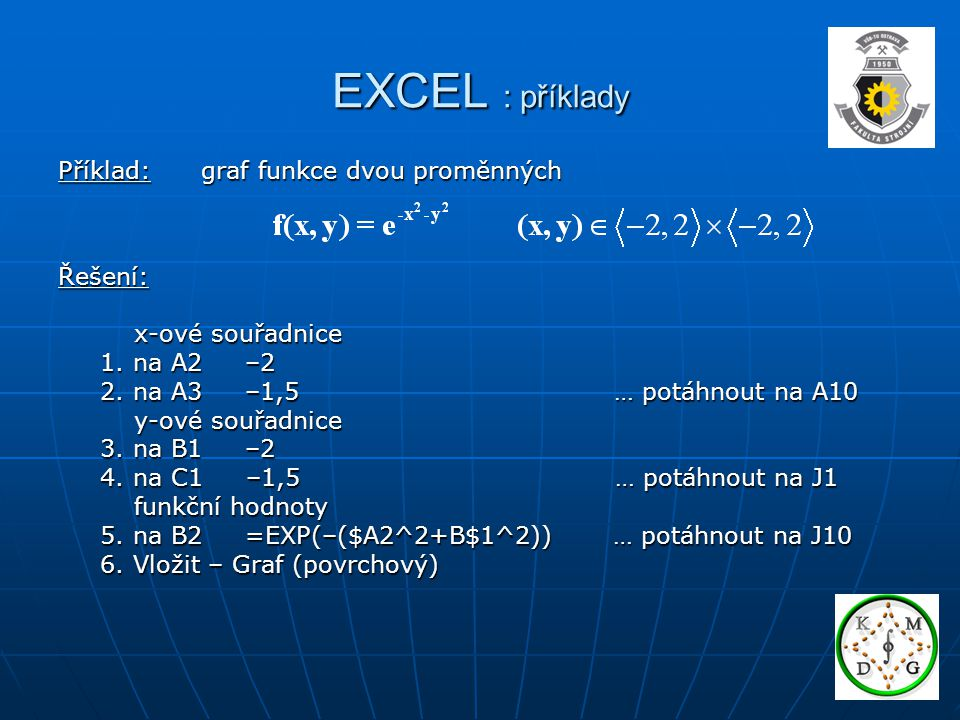 EXCEL : příklady Příklad: graf funkce dvou proměnných Řešení: