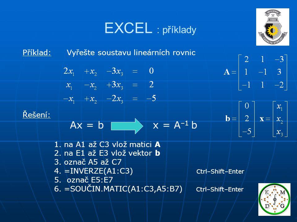 EXCEL : příklady Příklad: Vyřešte soustavu lineárních rovnic Řešení: