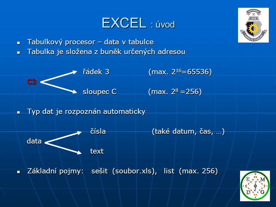EXCEL : úvod Tabulkový procesor – data v tabulce