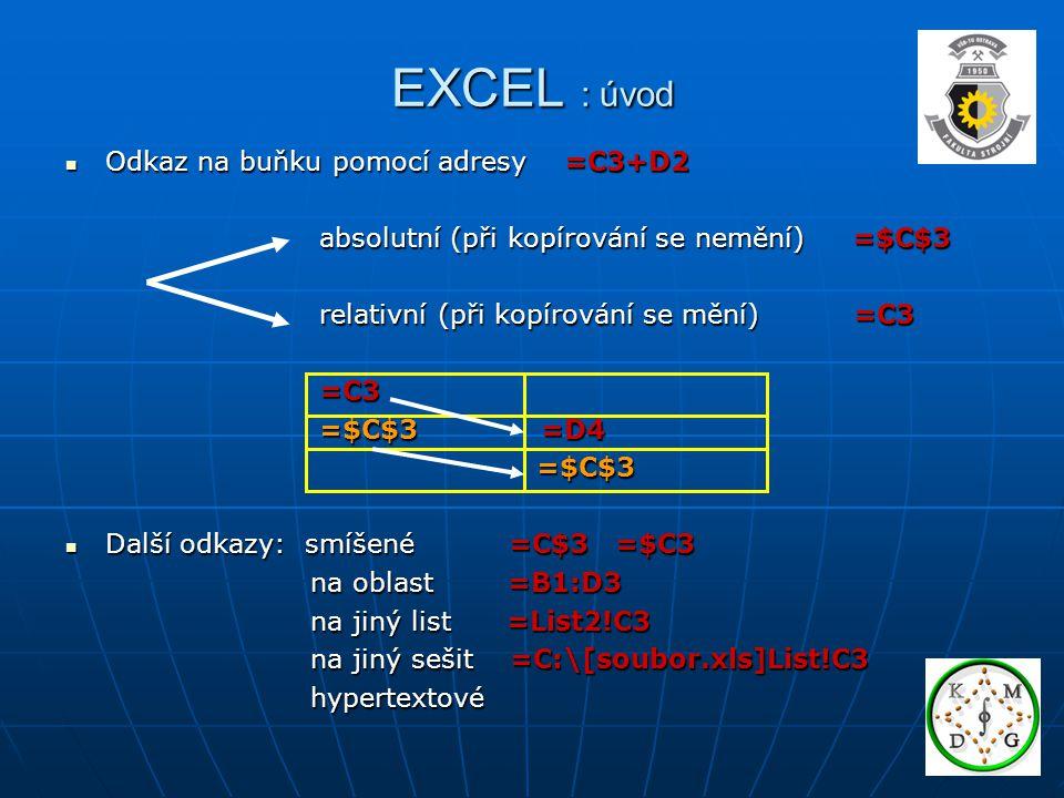 EXCEL : úvod Odkaz na buňku pomocí adresy =C3+D2