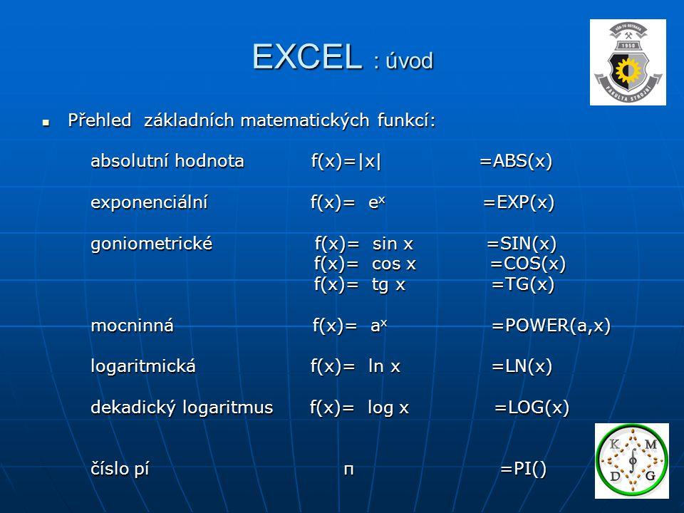 EXCEL : úvod Přehled základních matematických funkcí: