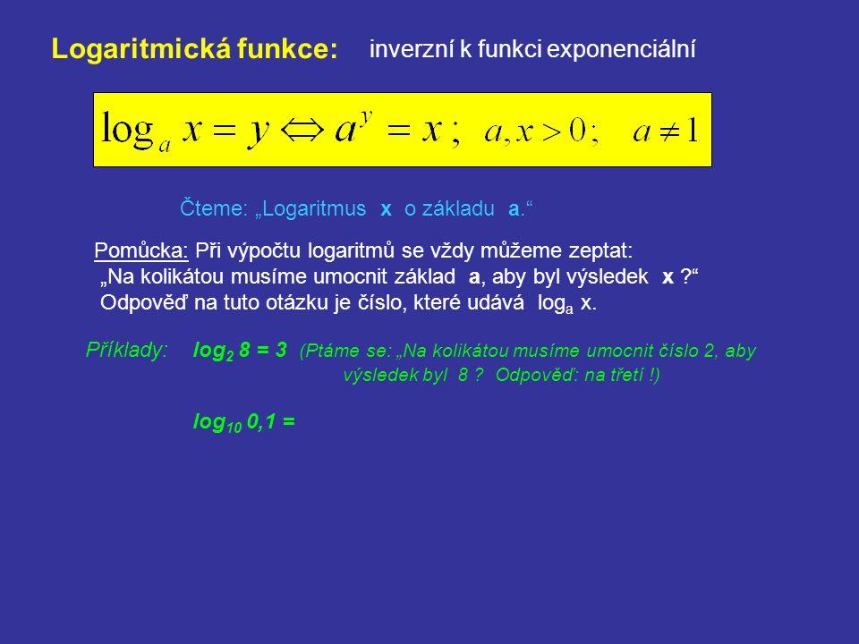 Logaritmická funkce: inverzní k funkci exponenciální