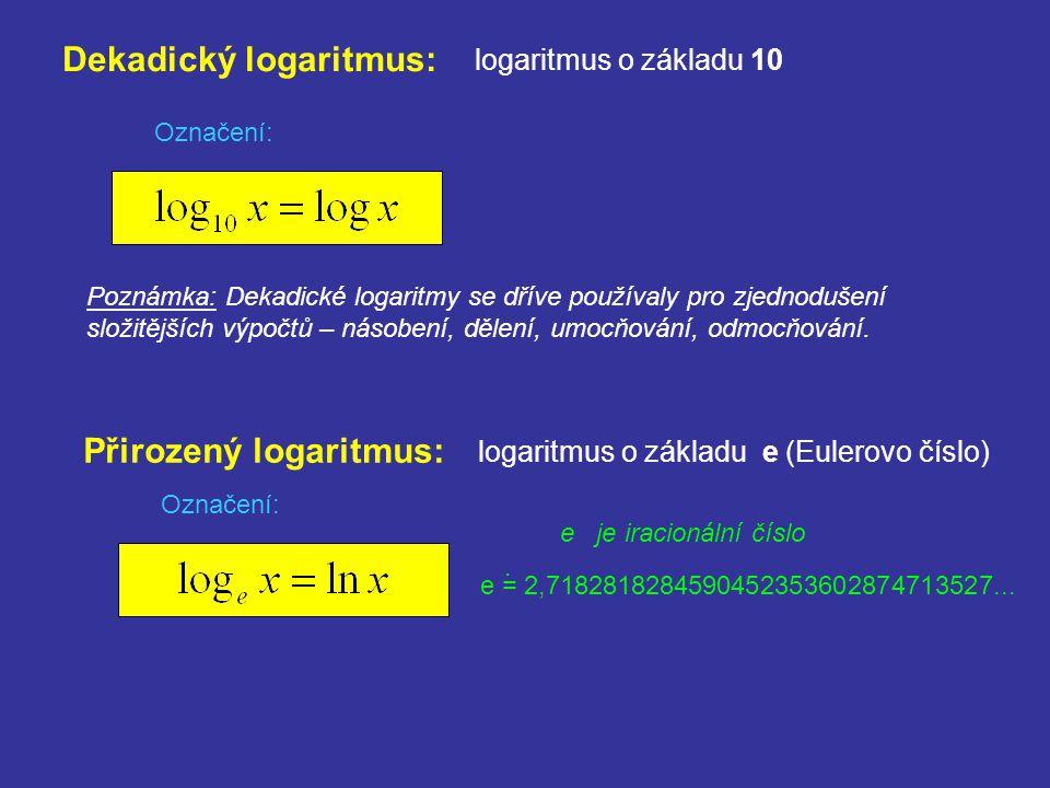 Dekadický logaritmus: