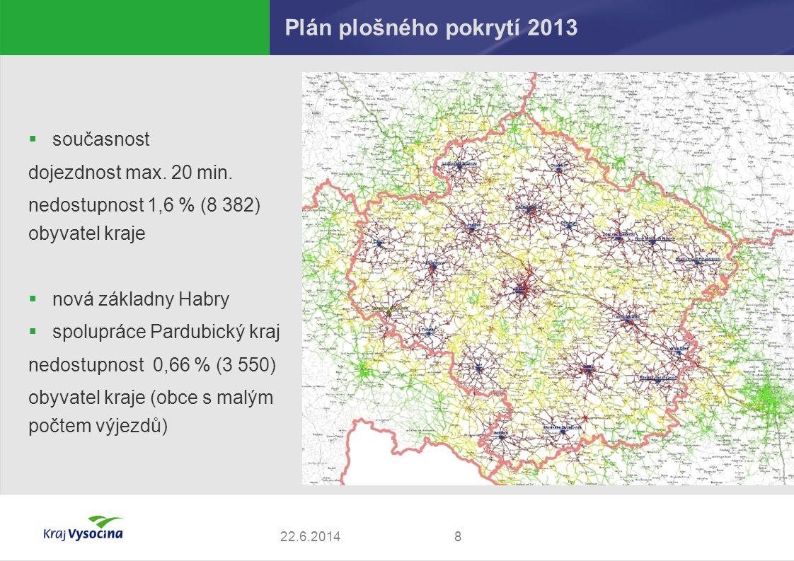 Plán plošného pokrytí 2013 současnost dojezdnost max. 20 min.