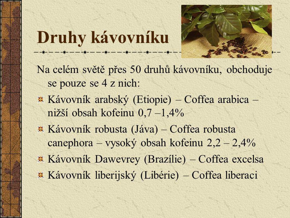 Druhy kávovníku Na celém světě přes 50 druhů kávovníku, obchoduje se pouze se 4 z nich: