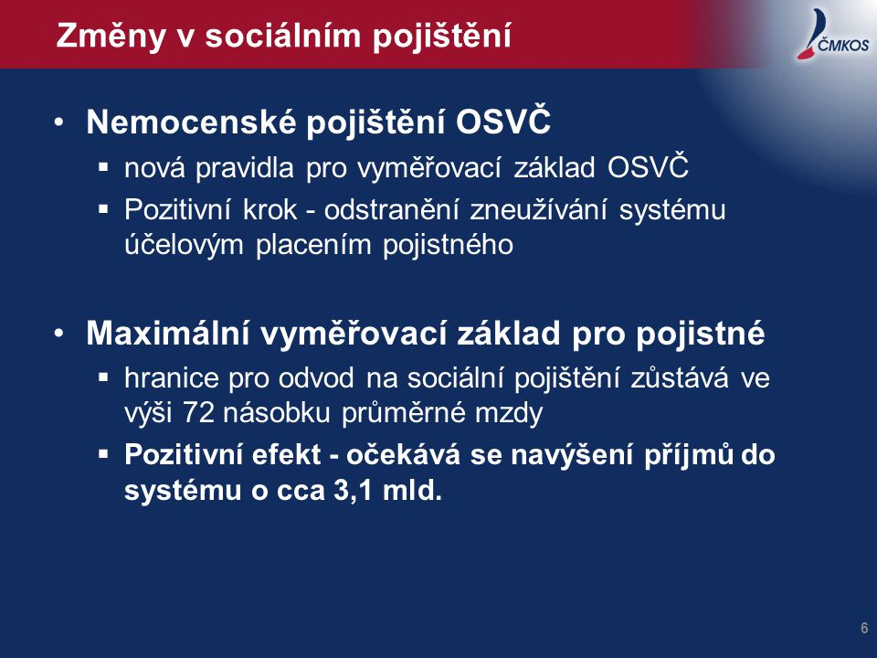 Změny v sociálním pojištění