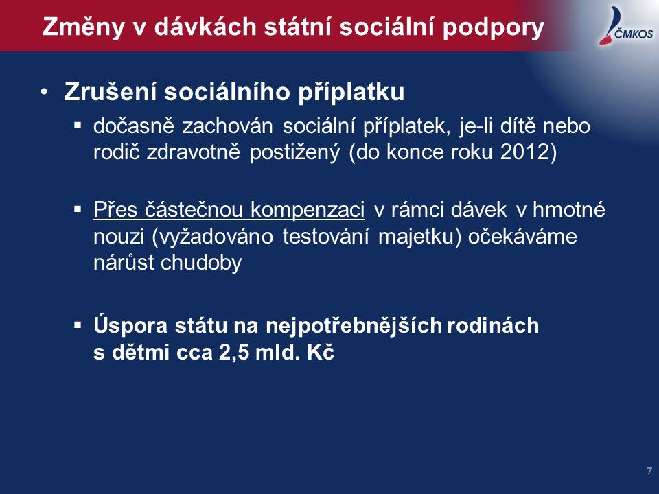 Změny v dávkách státní sociální podpory
