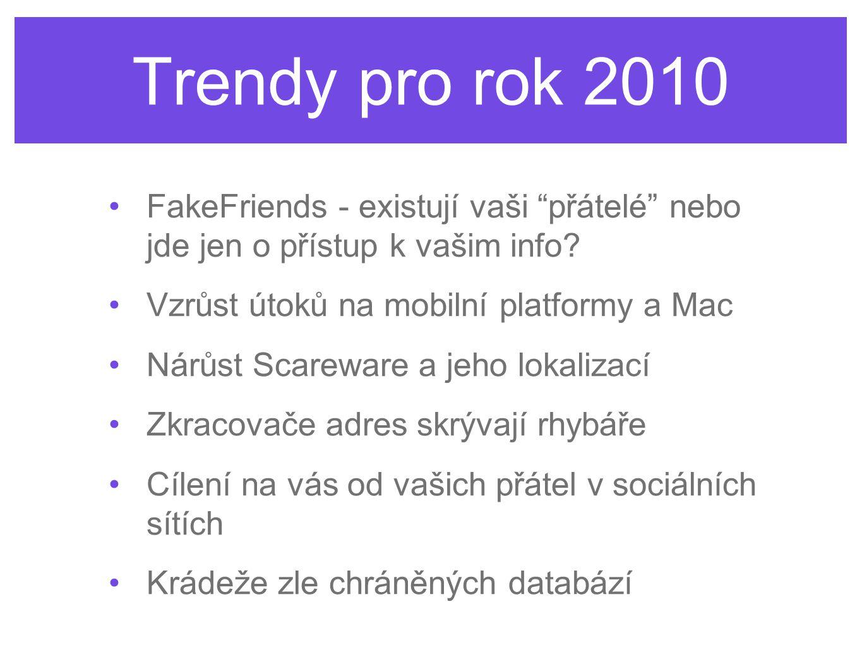 Trendy pro rok 2010 FakeFriends - existují vaši přátelé nebo jde jen o přístup k vašim info Vzrůst útoků na mobilní platformy a Mac.