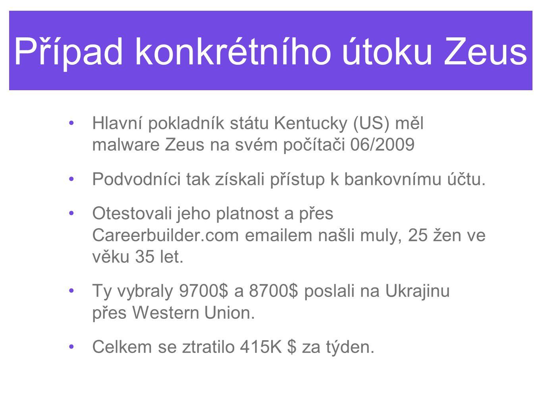 Případ konkrétního útoku Zeus