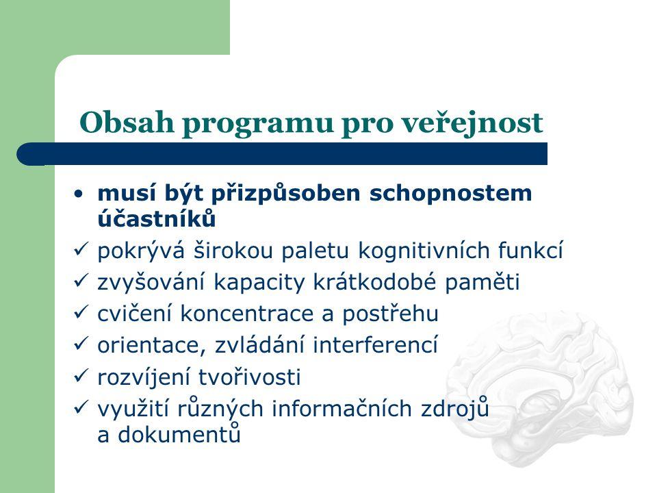 Obsah programu pro veřejnost