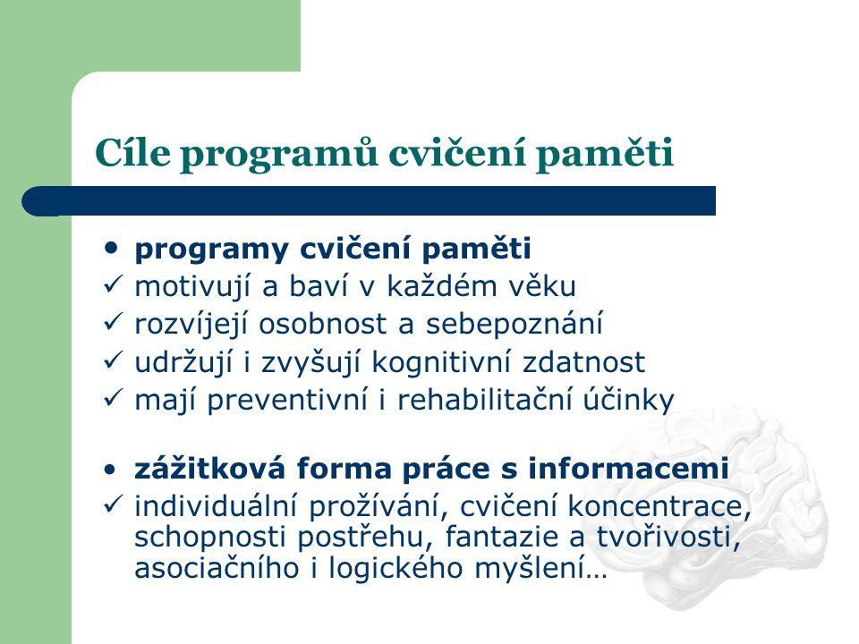 Cíle programů cvičení paměti