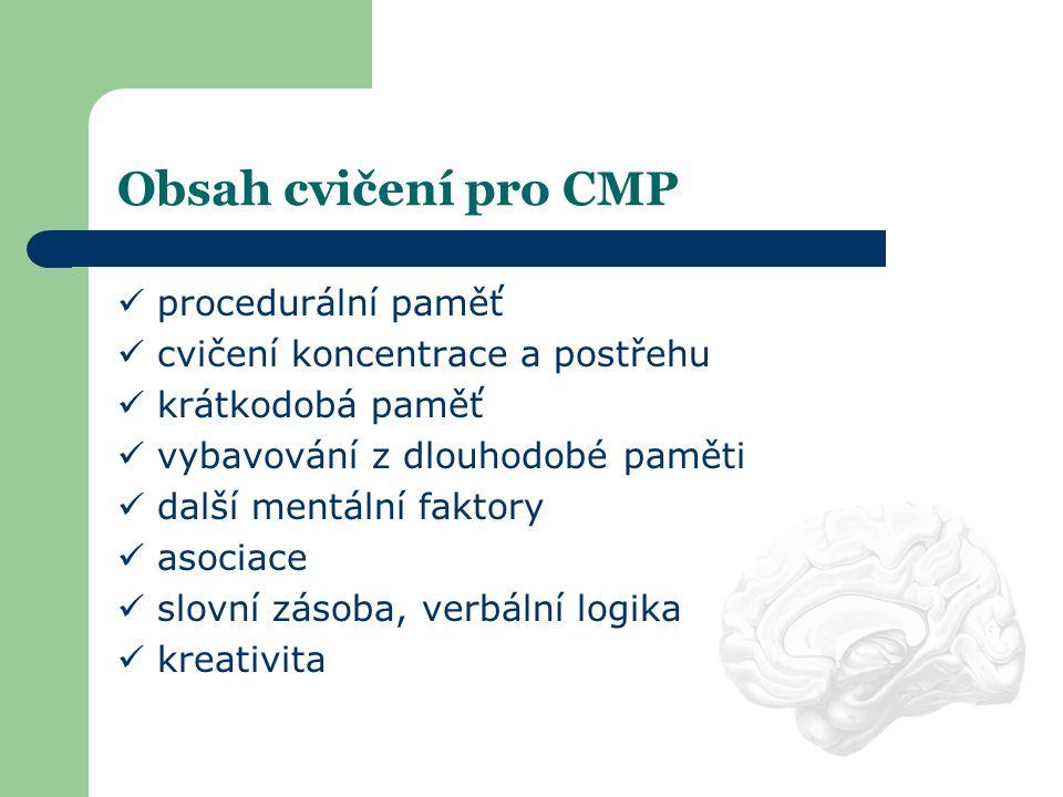 Obsah cvičení pro CMP procedurální paměť