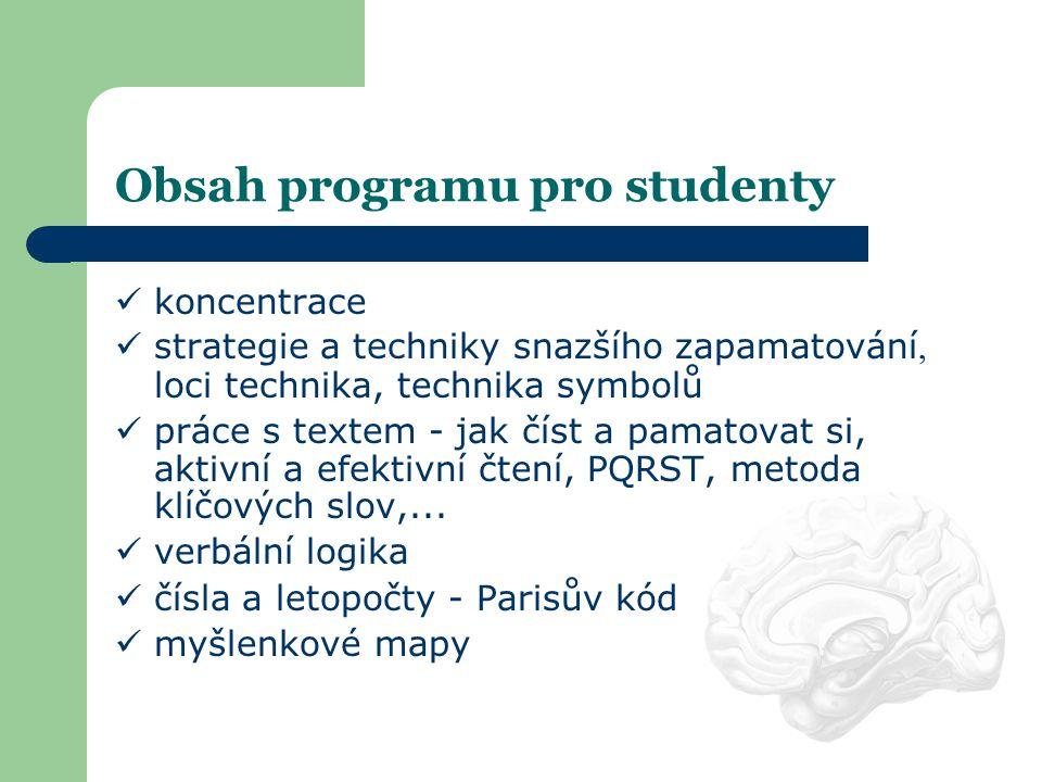 Obsah programu pro studenty