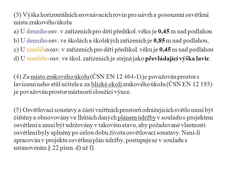 (3) Výška horizontálních srovnávacích rovin pro návrh a posouzení osvětlení místa zrakového úkolu
