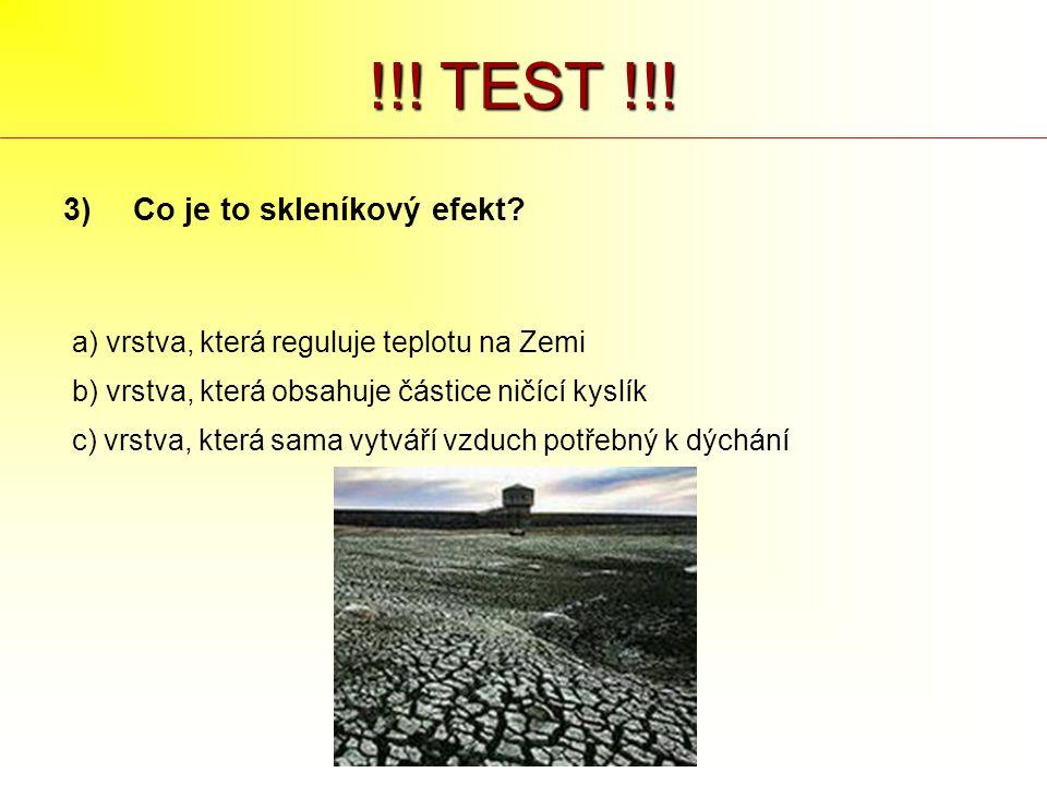 !!! TEST !!! Co je to skleníkový efekt