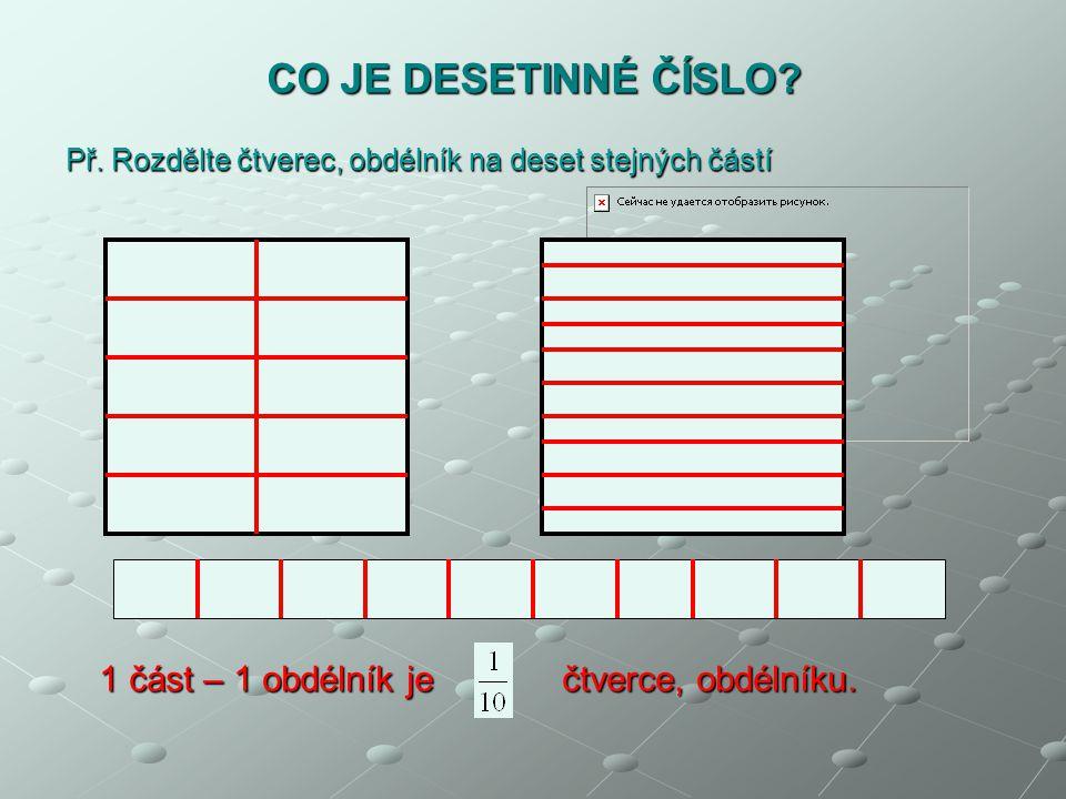 CO JE DESETINNÉ ČÍSLO 1 část – 1 obdélník je čtverce, obdélníku.