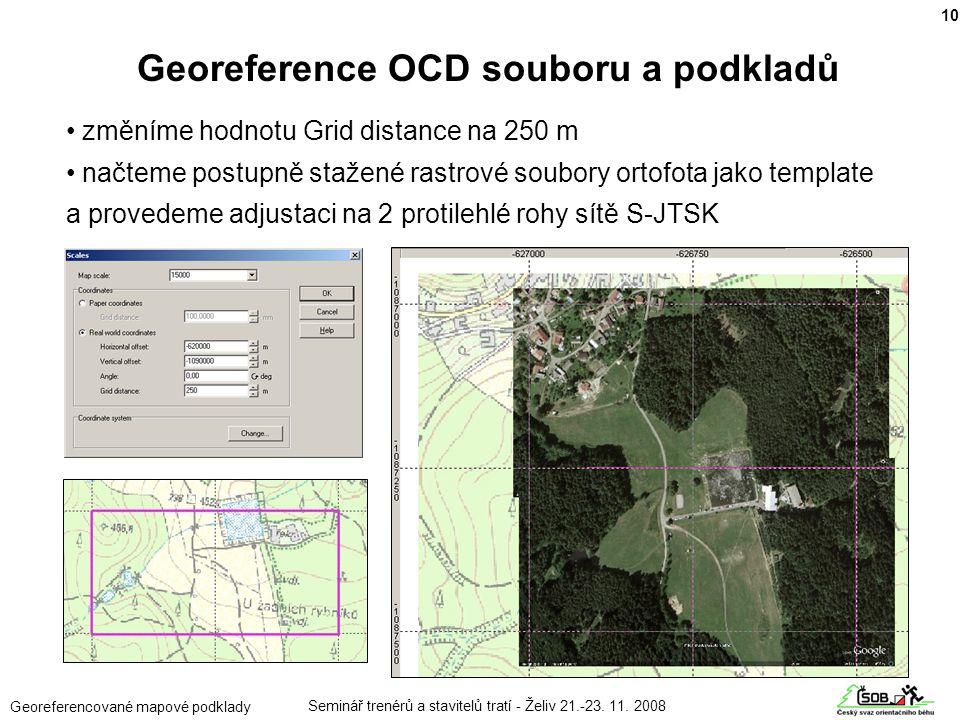 Georeference OCD souboru a podkladů