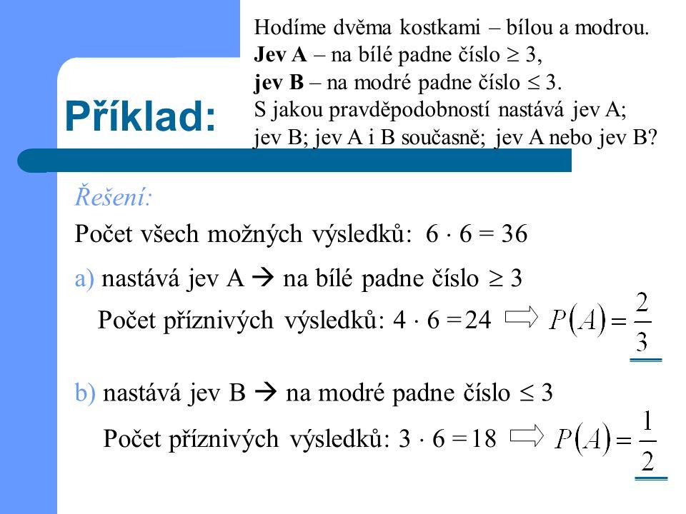 Příklad: Řešení: Počet všech možných výsledků: 6  6 = 36