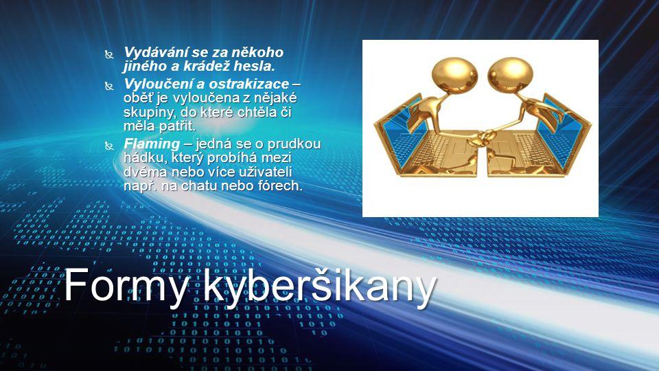 Formy kyberšikany Vydávání se za někoho jiného a krádež hesla.