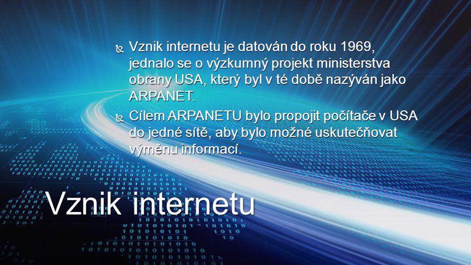 Vznik internetu je datován do roku 1969, jednalo se o výzkumný projekt ministerstva obrany USA, který byl v té době nazýván jako ARPANET.