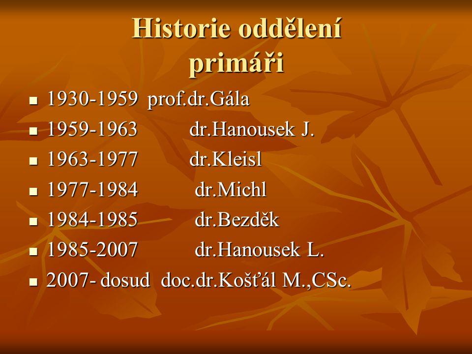 Historie oddělení primáři