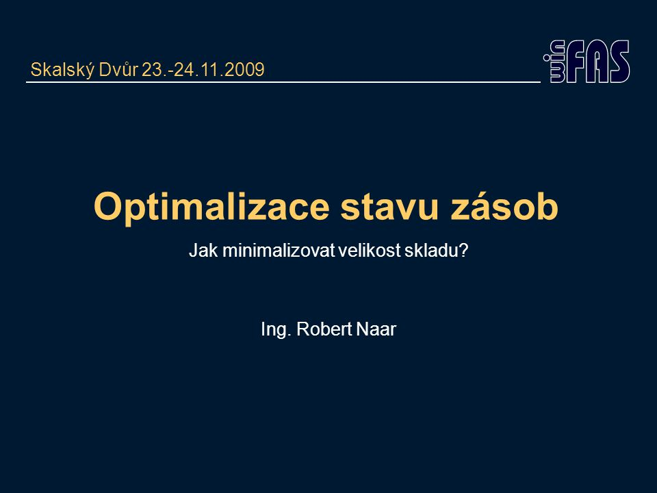 Optimalizace stavu zásob