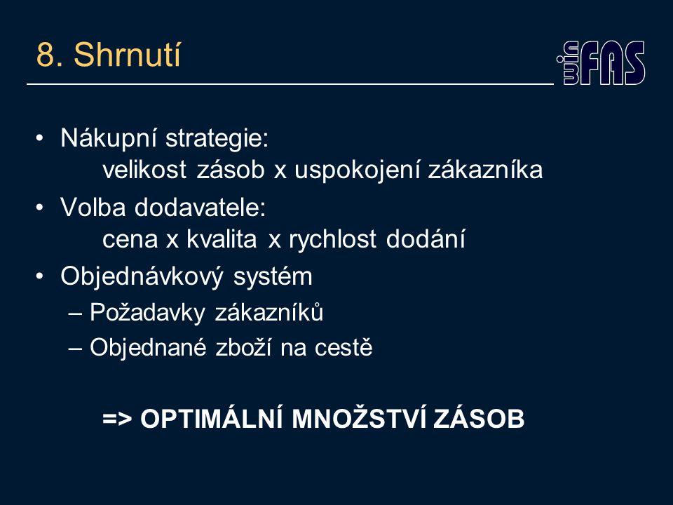 8. Shrnutí Nákupní strategie: velikost zásob x uspokojení zákazníka