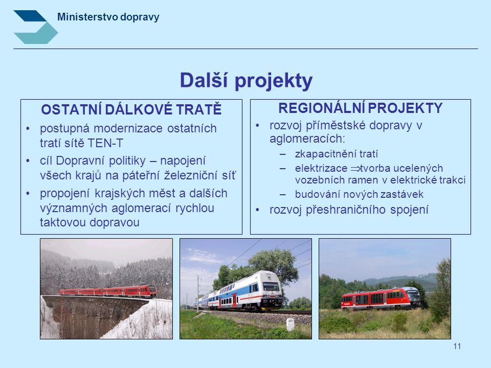 Další projekty OSTATNÍ DÁLKOVÉ TRATĚ REGIONÁLNÍ PROJEKTY