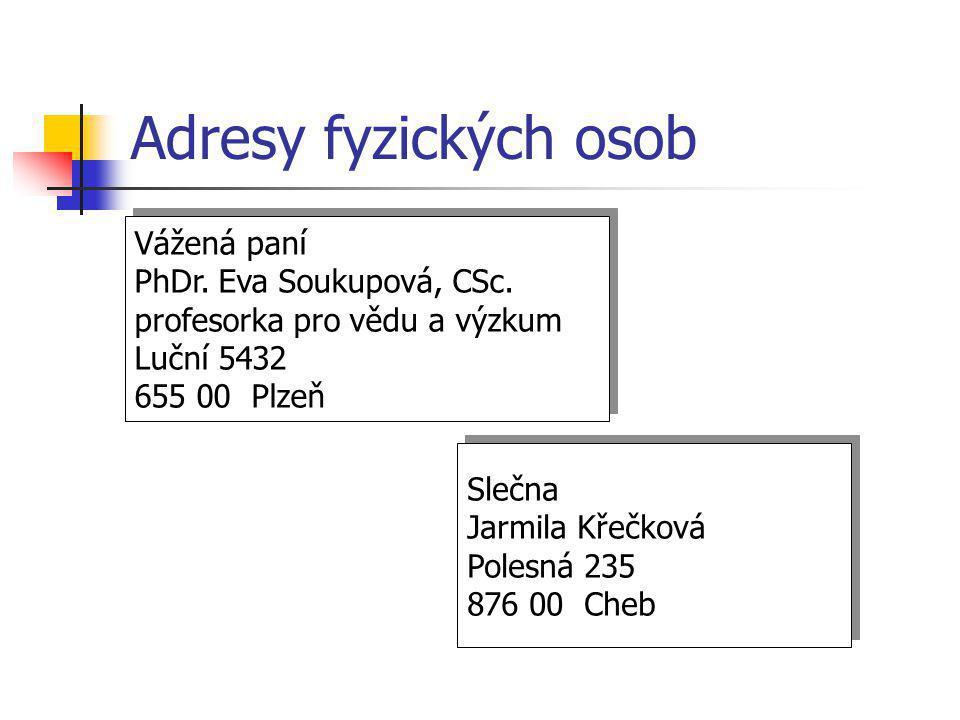Adresy fyzických osob Vážená paní PhDr. Eva Soukupová, CSc.
