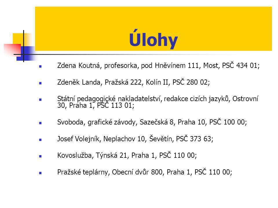 Úlohy Zdena Koutná, profesorka, pod Hněvínem 111, Most, PSČ 434 01;