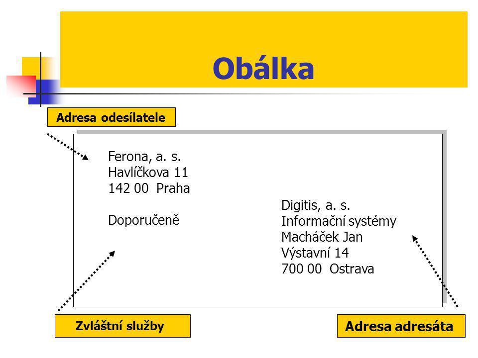 Obálka Ferona, a. s. Havlíčkova 11 142 00 Praha Doporučeně