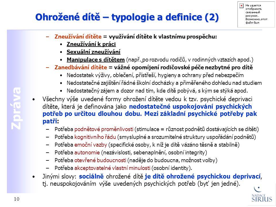 Ohrožené dítě – typologie a definice (2)