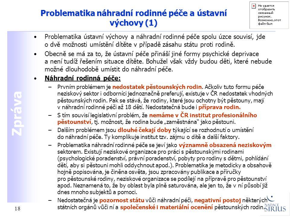 Problematika náhradní rodinné péče a ústavní výchovy (1)