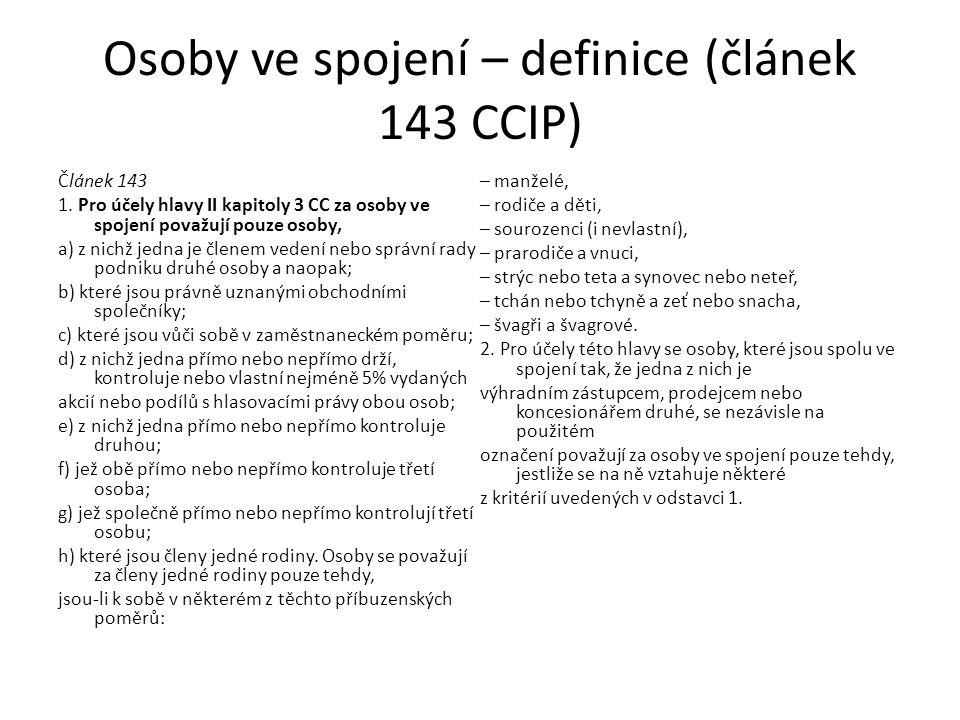 Osoby ve spojení – definice (článek 143 CCIP)