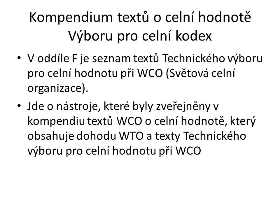 Kompendium textů o celní hodnotě Výboru pro celní kodex