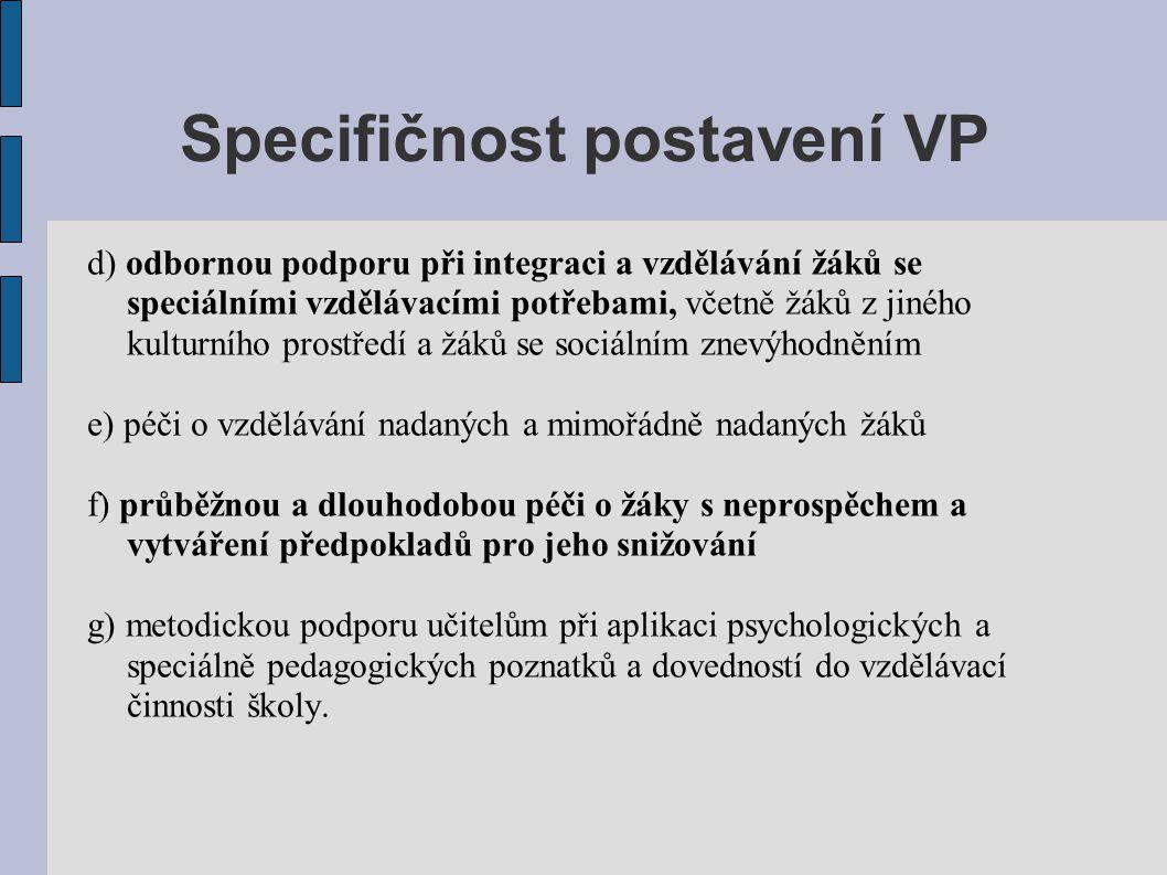 Specifičnost postavení VP