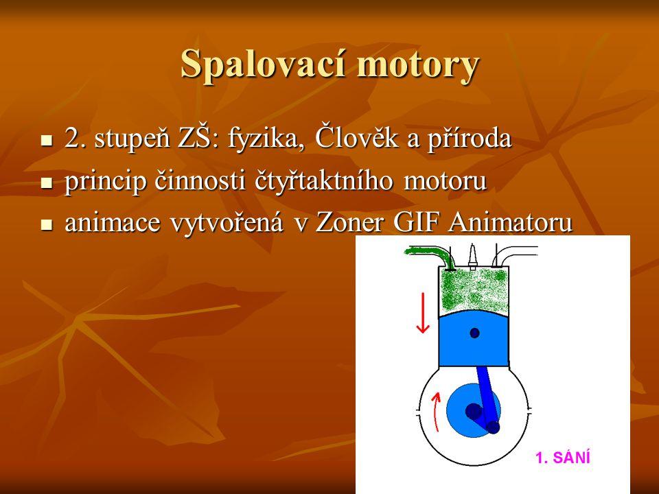 Spalovací motory 2. stupeň ZŠ: fyzika, Člověk a příroda