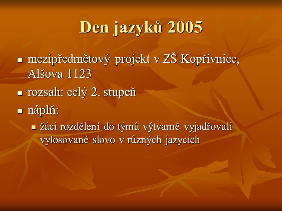 Den jazyků 2005 mezipředmětový projekt v ZŠ Kopřivnice, Alšova 1123