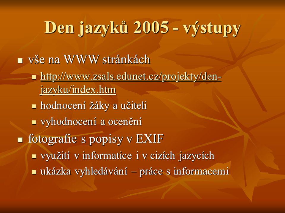 Den jazyků 2005 - výstupy vše na WWW stránkách