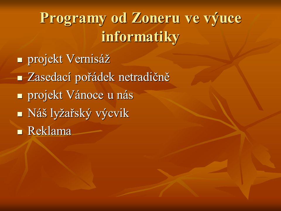 Programy od Zoneru ve výuce informatiky
